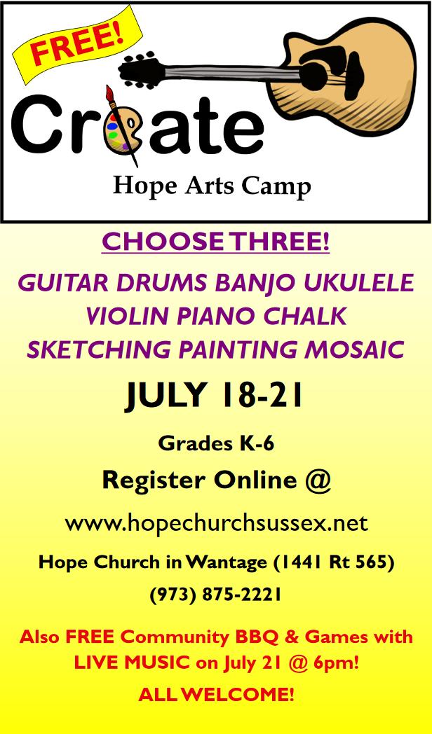 Hope Arts Camp in Wantage NJ